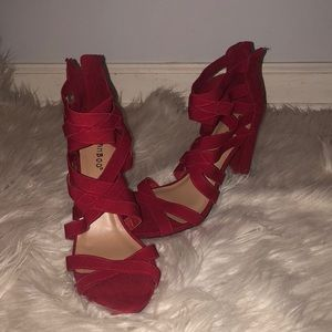 Hot red strap up, open toe heel